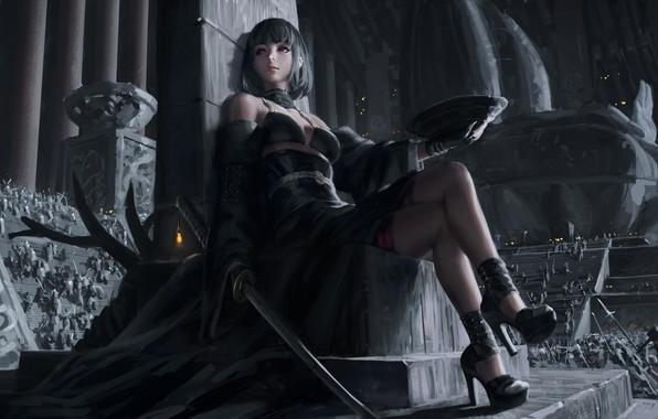 Картинка dark, girl, sword, fantasy, dress, weapon, red eyes, katana, army, samurai, digital art, artwork, concept …