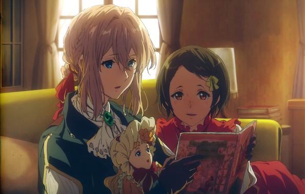 Картинка кукла, девочка, перчатки, книга, в комнате, чтение, брошь, Violet Evergarden, by Akiko Takase, Ann Magnolia