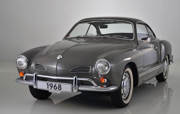 Фото обои серый, фон, Volkswagen, 1968, Karmann Ghia