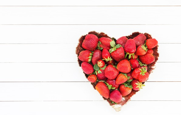 Картинка любовь, ягоды, сердце, клубника, red, love, fresh, romantic, hearts, strawberry, valentine, berries
