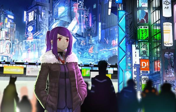 Картинка девушка, ночь, город, будущее, фантастика, неон, аниме, арт, сигарета, киберпанк, красные глаза, anime, art, Night, …