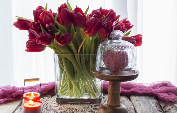 Картинка любовь, сердце, букет, тюльпаны, красные, red, love, wood, flowers, romantic, hearts, tulips, valentine's day