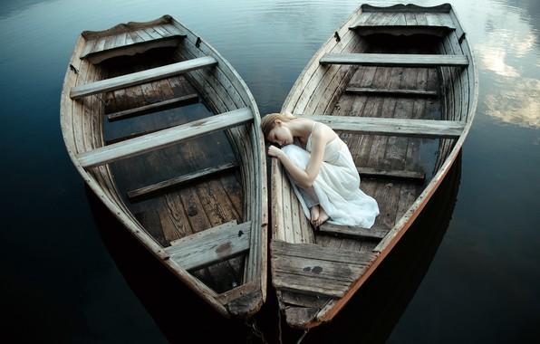 Картинка девушка, настроение, лодка