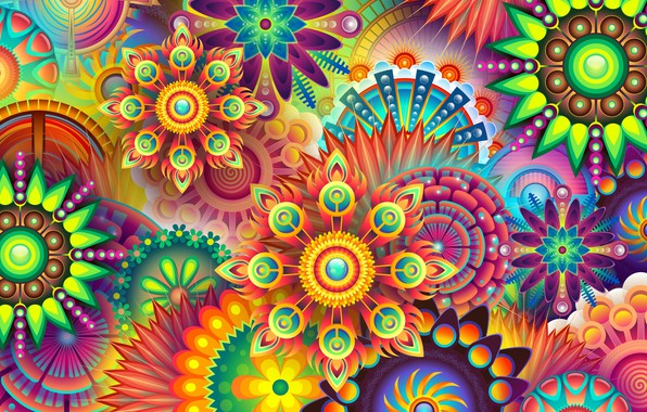 Картинка цветы, фон, узоры, графика, текстура, геометрия, digital art