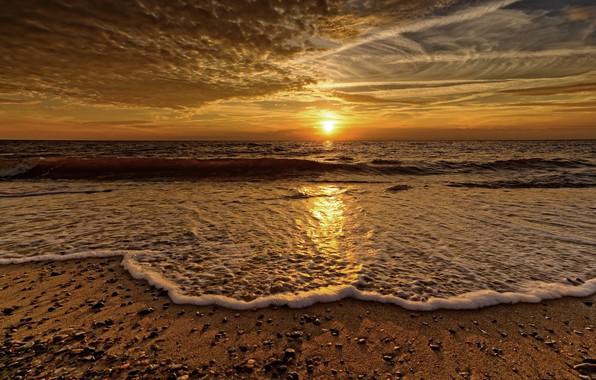 Картинка море, пена, закат, берег, волна