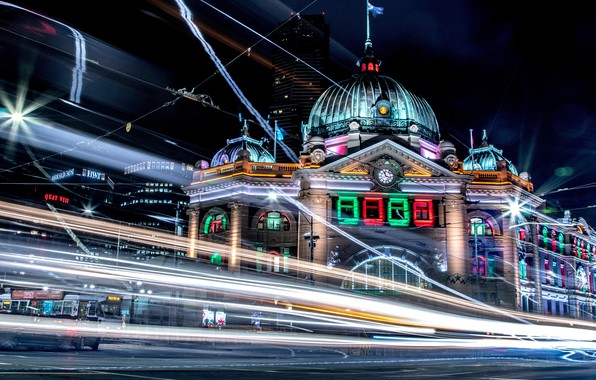 Картинка city, lights, colorful, night, Melbourne, skyscraper, street, blur, Australia, buildings, architecture, bright, city street, city …