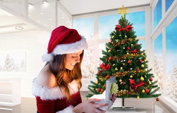 Картинка зима, девушка, снег, украшения, деревья, улыбка, стол, комната, настроение, праздник, коробка, подарок, шапка, игрушки, окна, …