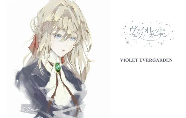 Картинка лицо, голубые глаза, бант, art, косичка, грустная, челка, брошь, портрет девушки, Violet Evergarden, Impimo