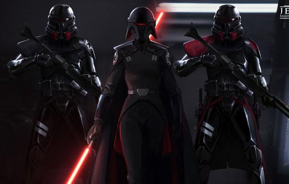 Картинка Star Wars, fantasy, game, weapon, digital art, lightsaber, artwork, fantasy art, Sith, helmet, rifles, cape, …