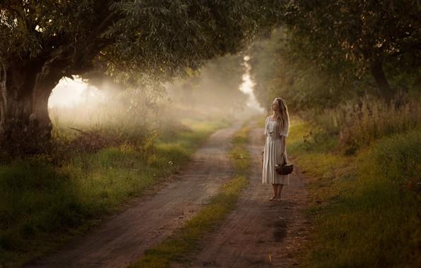 Картинка дорога, девушка, настроение