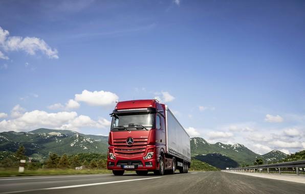 Картинка красный, Mercedes-Benz, трасса, седельный тягач, 4x2, Actros, полуприцеп