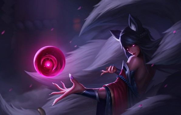 Картинка Girl, Fantasy, Art, Style, League of Legends, Background, Illustration, LoL, Ahri, Figure, Character, Spell, Li …