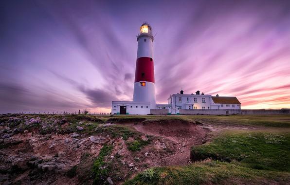 Картинка пейзаж, закат, природа, побережье, маяк, Англия, Портленд