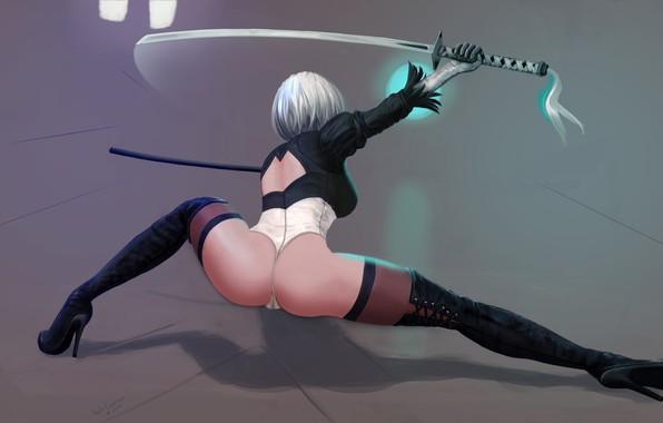 Картинка эротика, попа, девушка, ноги, робот, меч, арт, каблуки, задница, киборг, YoRHa No.2 Type B, nier ...