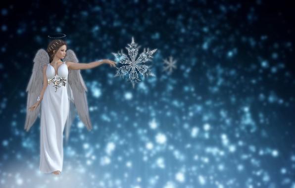Картинка небо, фон, снежный, зимний, звезда, рождество, ангел, фэнтези, любить, хрустальная снежинка