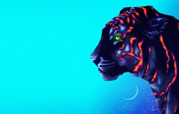 Картинка Рисунок, Кошка, Тигр, Фон, Арт, Neon, James White, Synth, Retrowave, Synthwave, New Retro Wave, Futuresynth, ...