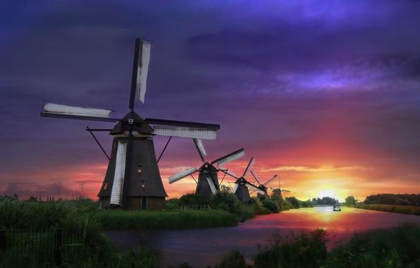 Картинка трава, пейзаж, природа, река, рассвет, лодка, утро, деревня, Нидерланды, Киндердейк