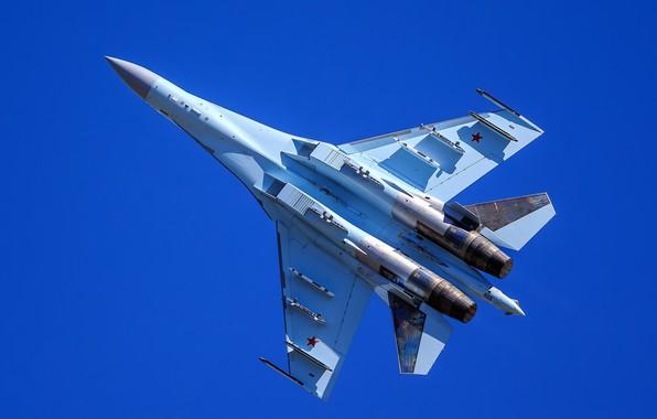 Картинка истребитель, полёт, Су-35, многоцелевой