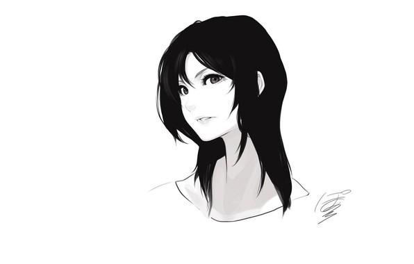 Картинка лицо, art, чёрные волосы, портрет девушки, черно- белый, Poaro