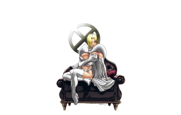 Картинка girl, fantasy, cleavage, X-Men, minimalism, breast, blue eyes, Marvel, comics, coat, blonde, Emma Frost, sofa, …
