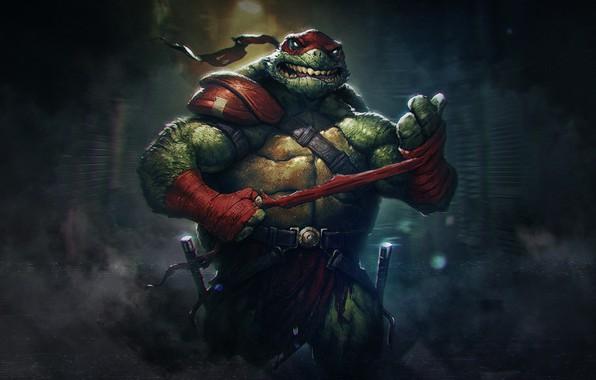 Картинка Стиль, Фон, Fantasy, Черепашки-ниндзя, Art, Рафаэль, Style, Фантастика, TMNT, Teenage Mutant Ninja Turtles, Background, Sci-Fi, …