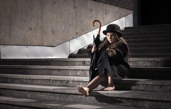 Картинка зонт, девочка, ступени