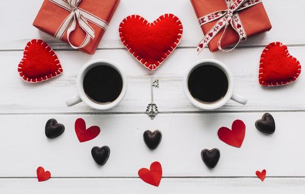 Картинка любовь, подарок, сердце, сердечки, red, love, heart, wood, cup, romantic, valentine's day, coffee, чашка кофе