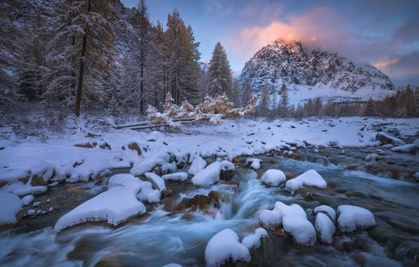 Картинка зима, лес, небо, снег, пейзаж, горы, река, камни, голубой, берег, течение, вершины, ели