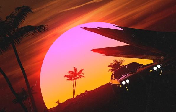 Картинка Закат, Солнце, Авто, Музыка, Машина, Стиль, Пальмы, 80s, Style, Illustration, Concept Art, Vehicles, 80's, Synth, ...