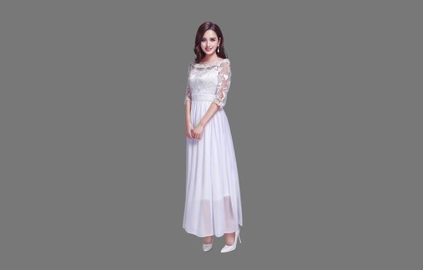 Картинка Girl, Beautiful, Sexy, Art, Asian, Smile, Style, Minimalism, Dress, Figure, HL Z