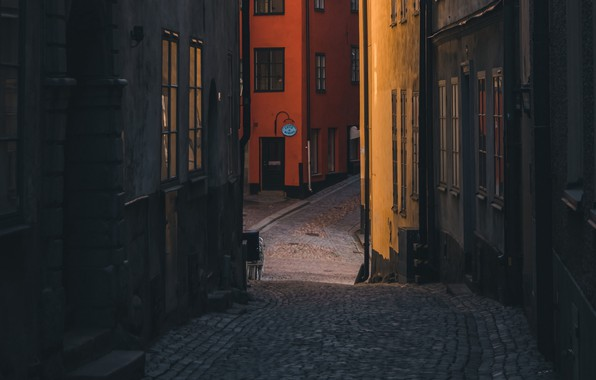 Картинка city, wallpaper, street, stockholm, buildings, sweden, cobblestones