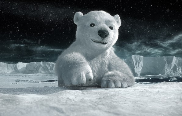 Картинка снег, ночь, мультик, льдины, Арктика, медвеженок, умка