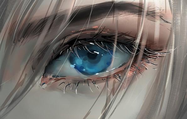 Картинка girl, art, blue eyes, face, blonde, digital art, artwork, eyelashes, Eye