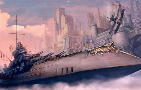 Картинка city, fantasy, warship, plane, digital art, artwork, fantasy art, Steampunk, aircarft, bulidings