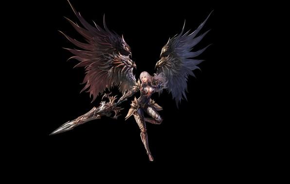 Картинка Girl, Fantasy, Beautiful, Art, Warrior, Minimalism, Sword, Wings, Armor, Eron Kim, With - Warrior