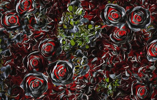 Картинка листья, цветы, ночь, абстракция, рендеринг, обои, рисунок, картинка, холст, розовый куст, акриловые краски, заставка для …