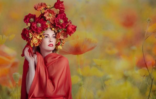 Картинка девушка, цветы, Florence Rapati