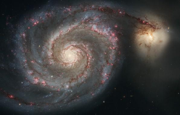 Картинка Хаббл, Спиральная галактика, Whirlpool Galaxy, Messier 51