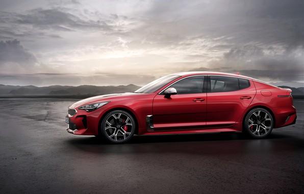 Картинка красный, профиль, Kia, пятидверный, Stinger, Stinger GT, фастбэк