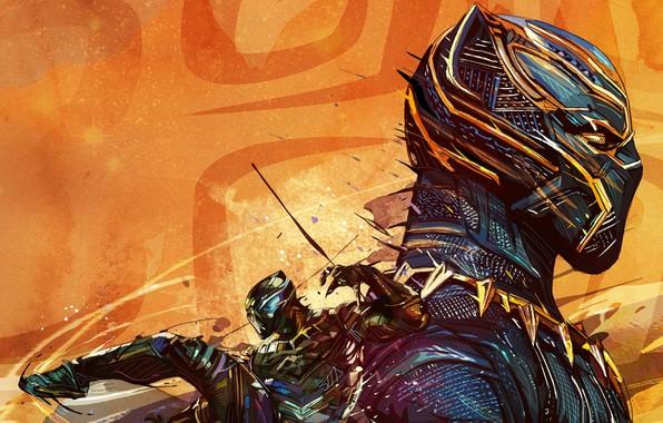 Картинка фон, фантастика, рисунок, маска, арт, костюм, комикс, MARVEL, Black Panther, Чёрная Пантера