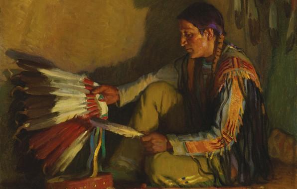 Картинка перо, тень, Joseph Henry Sharp, The War Bonnet