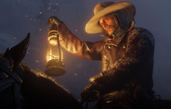 Картинка снег, лошадь, шляпа, фонарь, Rockstar, Бандит, Red Dead Redemption 2