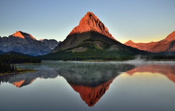 Картинка Закат, Природа, Отражение, Туман, Озеро, Гора, Пейзаж