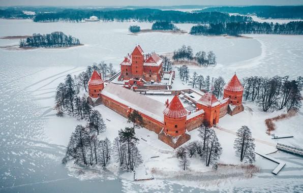 Картинка зима, замок, Trakai, Lietuva