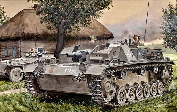 Картинка Вермахт, StuG III, полугусеничный бронетранспортёр, SdKfz 250, Штурмовое орудие