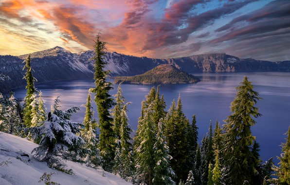Картинка Oregon, sunset, snow, Crater Lake, volcanic