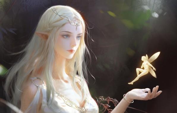 Картинка украшения, природа, эльф, фея, фэнтези, арт, эльфийка, мифические существа