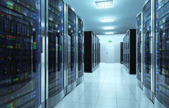 Картинка server, corridor, storage, information, data center