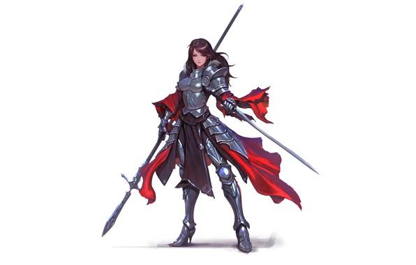Картинка girl, sword, fantasy, armor, red eyes, brunette, weapons, digital art, artwork, warrior, fantasy art, Knight, …