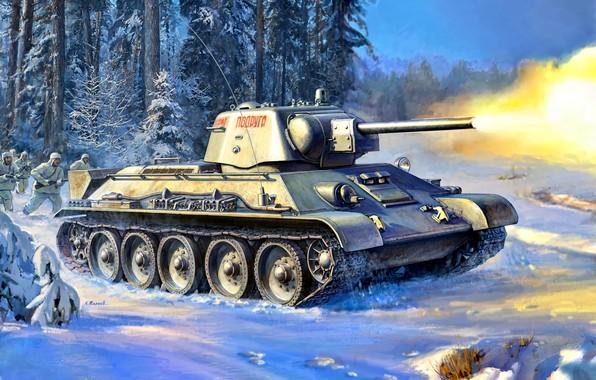 Картинка Зима, Снег, Лес, Танк, Т-34, Красная Армия, Cолдаты, Великая Отечественная война